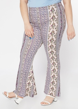 plus pink border print super soft flare pants - Main Image