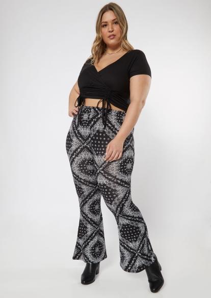 plus black bandana print super soft flare pants - Main Image