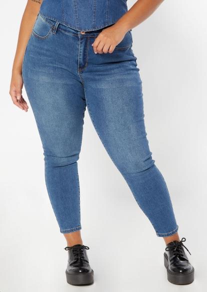plus medium wash mid rise skinny jeans - Main Image