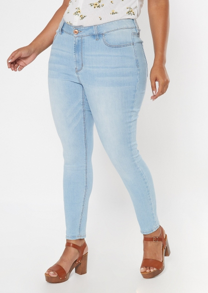 plus ultimate stretch light wash mid rise jeggings - Main Image
