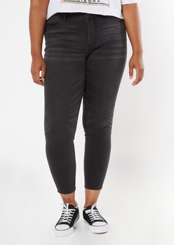 plus ultimate stretch black mid rise jeggings in short - Main Image