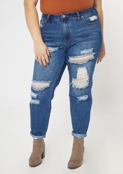plus dark wash ripped high waist mom jeans - Main Image