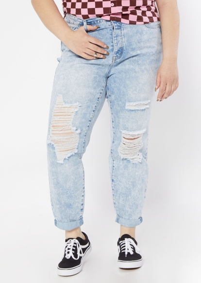 plus light wash super high rise ripped mom jeans - Main Image