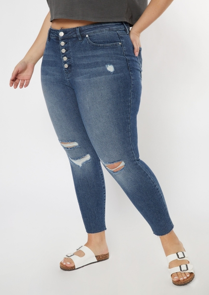 plus medium wash button front ripped throwback skinny jeans - Main Image