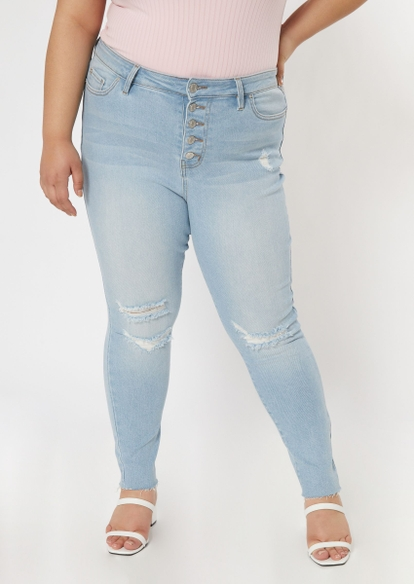 plus light wash button front ripped throwback skinny jeans - Main Image