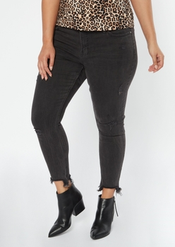plus black frayed ankle jeggings - Main Image