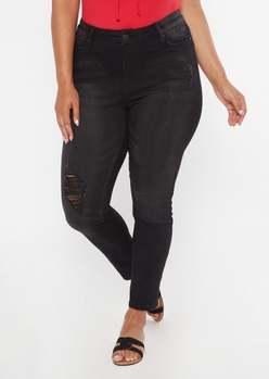 plus black ripped knee skinny jeans - Main Image