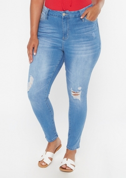 plus light wash ripped knee skinny jeans - Main Image