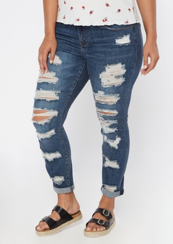 plus dark wash ripped cuffed ankle skinny jeans - Main Image