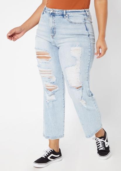 plus ligh wash super high rise dad jeans - Main Image