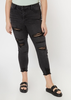 plus washed black button fly ankle jeggings - Main Image