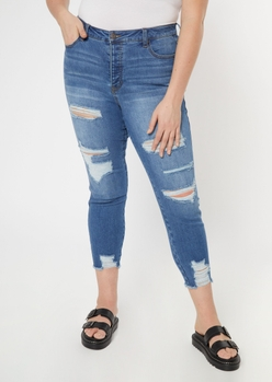 plus medium wash button fly ankle jeggings - Main Image