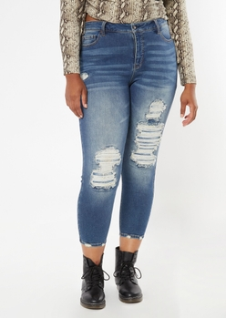 plus dark wash ripped and repaired ankle jeggings - Main Image