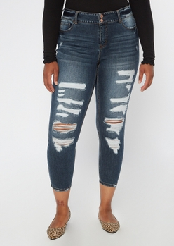 plus recycled dark wash ripped ankle jeggings - Main Image