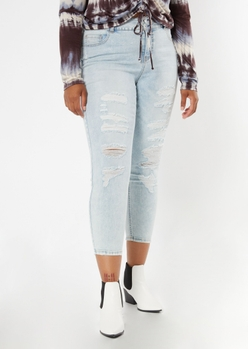 plus recycled light wash ripped ankle jeggings - Main Image