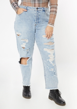 plus light wash ripped frayed straight jeans - Main Image