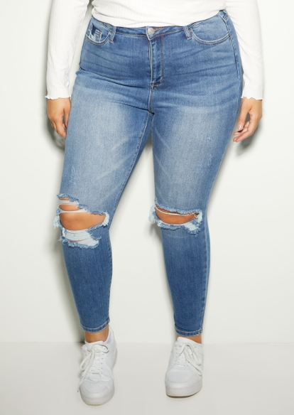 plus light wash high rise ripped knee skinny jeans - Main Image