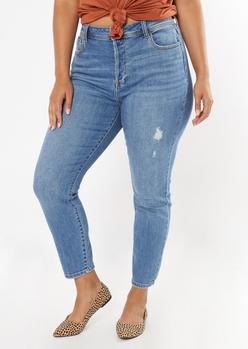 plus medium wash frayed skinny jeans - Main Image