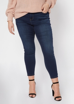 plus dark wash high waisted skinny jeans - Main Image