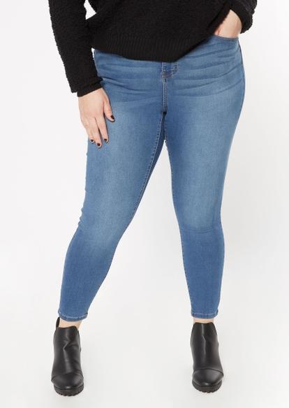 plus medium wash back seamed skinny jeans - Main Image