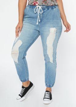 plus medium wash ripped jogger jeans - Main Image