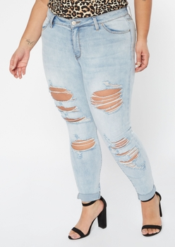 plus light wash destructed cuffed mid rise skinny jeans - Main Image
