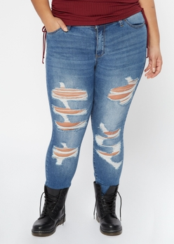plus dark wash destructed cuffed mid rise skinny jeans - Main Image