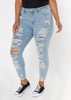 plus light wash high waisted destroyed skinny jeans - Main Image
