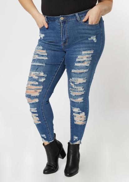 plus medium wash high waisted destroyed skinny jeans - Main Image