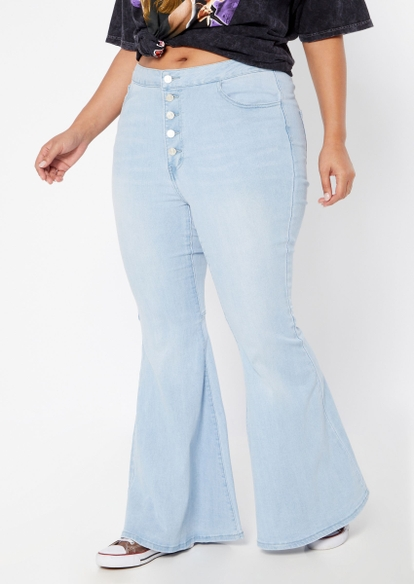 plus medium wash super high rise exposed button mega flare jeans - Main Image