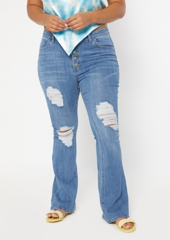 plus medium wash high rise exposed button flare jeans - Main Image