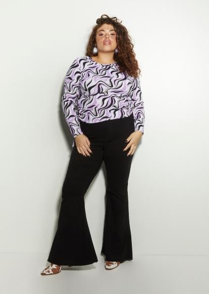 plus black super high rise flare jeans - Main Image