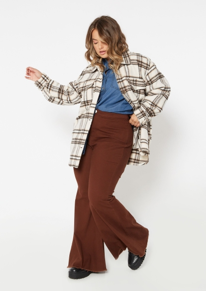 plus brown super high rise flare jeans - Main Image