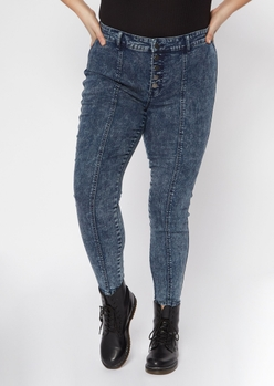 plus dark acid wash exposed button sewn pleat skinny jeans - Main Image