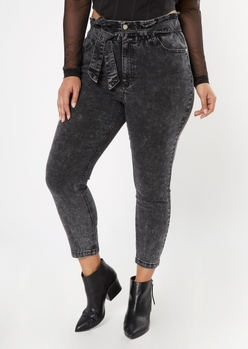 plus black paperbag waist tie belt skinny jeans - Main Image