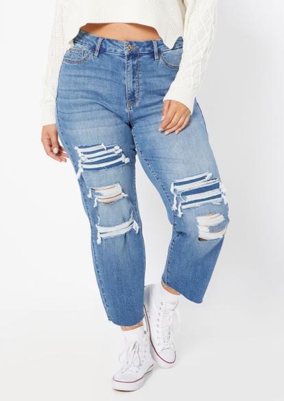 plus medium wash high rise curvy rip repair mom jeans - Main Image