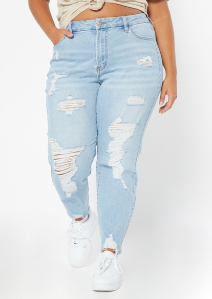 plus light wash high rise curvy ripped mom jeans - Main Image