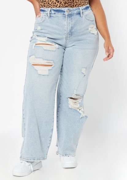 plus light wash high rise curvy ripped skate jeans - Main Image