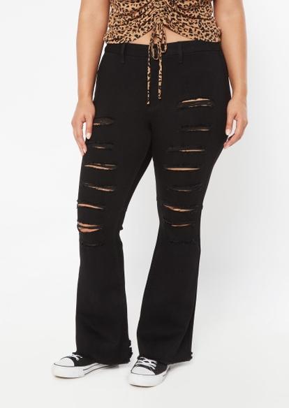 plus black high rise curvy slit ripped flare jeans - Main Image
