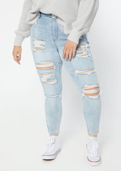plus medium wash high rise ripped skinny jeans - Main Image
