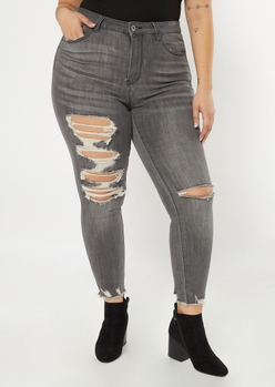 plus ultimate stretch gray raw cut ankle jeggings - Main Image