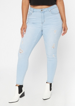 plus light wash mid rise ripped jeggings - Main Image