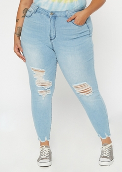 plus light wash high waisted ripped ankle jeggings - Main Image