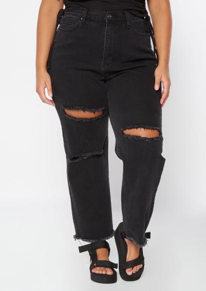 plus black super high rise destructed wide leg jeans - Main Image