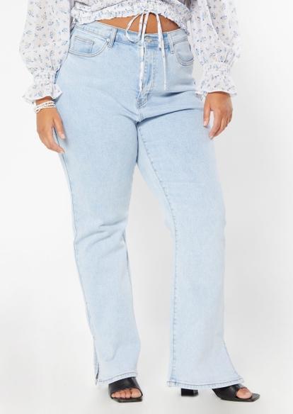 plus light wash high rise slit hem flare jeans - Main Image