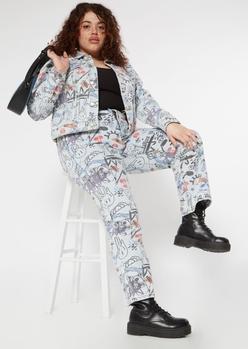 plus light wash graffiti print skate leg jeans - Main Image