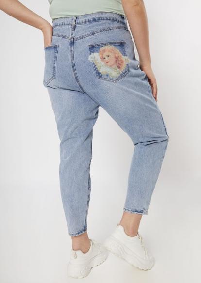 plus light wash cherub pocket mom jeans - Main Image