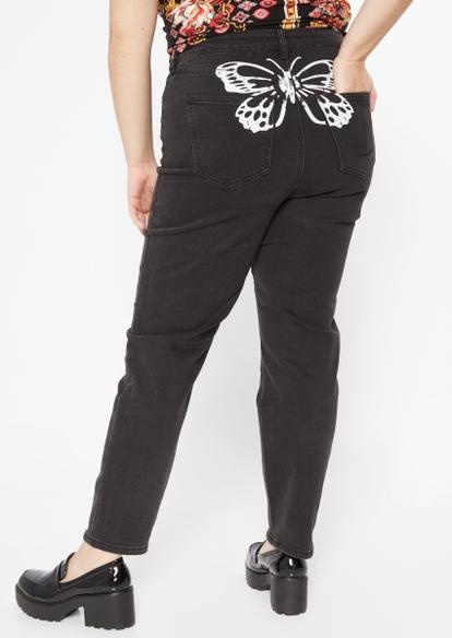 plus black butterfly print high rise straight leg jeans - Main Image