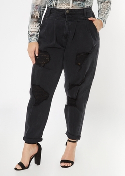 plus black ripped roll cuff balloon jeans - Main Image