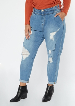 plus medium wash ripped roll cuff balloon jeans - Main Image